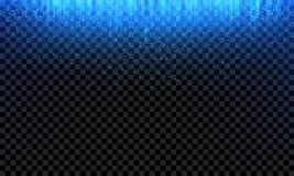 Blått blänker glittery ljus bakgrund för nedgångvektorn stock illustrationer