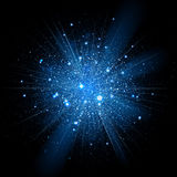 Blått blänker partikelbakgrundseffekt sparkling Arkivbild