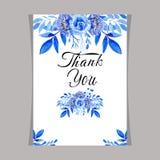 Blått blom- för mallkortvattenfärg, rambröllopinbjudan stock illustrationer