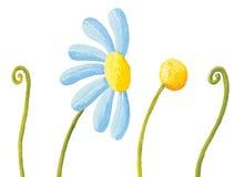 Blått blomma och gräs Royaltyfri Bild