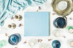 Blått bröllop- eller familjfotoalbum Royaltyfri Foto