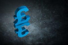 Blått brittiskt valutasymbol eller tecken med spegelreflexion på mörka Dusty Background arkivfoto