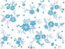 Blått broderat för modellfältet för blomman sömlöst tyg för lappen för mode smyckar traditionell etnisk tappningbroderi vektor illustrationer