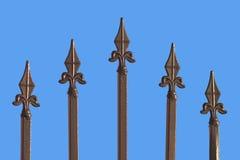 blått bronze staket isolerad sharp Royaltyfri Bild
