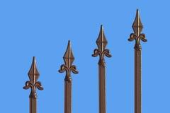 blått bronze staket isolerad sharp Arkivfoto