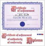 blått certifikat mall horisontal royaltyfri illustrationer