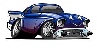 Blått 57 Chevy Cartoon Illustration Royaltyfri Foto