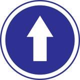 blått cirkeltecken för pil Arkivfoto