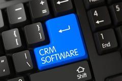 Blått CRM programvarutangentbord på tangentbordet 3d Royaltyfri Foto