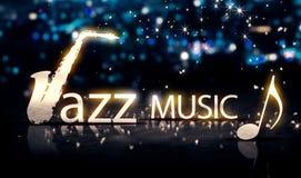 Blått 3D för Jazz Music Saxophone Silver City Bokeh stjärnasken Stock Illustrationer