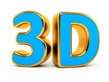 blått 3d med guld- symbol vektor illustrationer