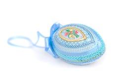 blått dekorativt ägg Arkivbilder