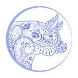 Blått dekorativt svinhuvud i en cirkel Blommaemblem i stilen av nationell porslinmålning royaltyfri illustrationer