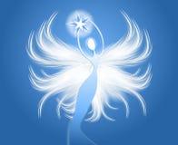 blått diagram holdingstjärna för ängel stock illustrationer