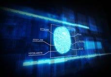 Blått digitalt fingeravtryck Arkivfoto