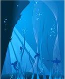 blått djupt hav Arkivfoto