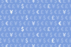Blått dollareuro Yen Pound Currencies Pattern Background royaltyfri illustrationer