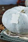 Blått eller Teal Colored Pumpkin med den tomma etiketten Royaltyfri Bild