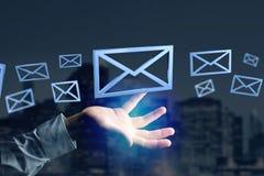 Blått Emailsymbol som visas på en färgbakgrund - tolkning 3D Royaltyfri Foto