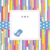 Blått fågel- och hjärtahälsningkort Royaltyfri Fotografi
