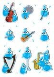 Blått fågelinstrument Set_eps Arkivfoton