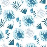 Blått för bakgrund för djungelmodellvektor sömlösa stock illustrationer