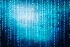 Blått för binär kod Arkivbild