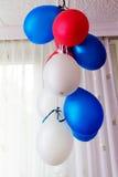 Blått för födelsedag för luftballonger Fotografering för Bildbyråer