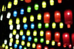 Blått för gräsplan för abstrakt ljus bokehbakgrundsguling röda Arkivbild