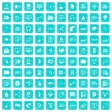 100 blått för grunge för on-line seminariumsymboler fastställda Royaltyfri Bild