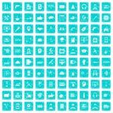100 blått för grunge för servicesymboler fastställda Royaltyfri Bild