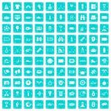 100 blått för grunge för sportjournalistsymboler fastställda Royaltyfria Foton