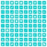 100 blått för grunge för sportlivsymboler fastställda Arkivfoton