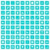 100 blått för grunge för sporttillbehörsymboler fastställda Arkivfoto