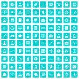 100 blått för grunge för statistikdatasymboler fastställda stock illustrationer