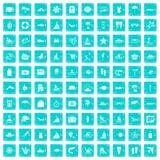 100 blått för grunge för strandsymboler fastställda Royaltyfria Bilder