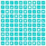 100 blått för grunge för symboler för sportklubba fastställda Royaltyfria Foton