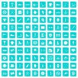 100 blått för grunge för symboler för sportutrustning fastställda Arkivfoto