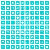 100 blått för grunge för symbolsymboler fastställda Arkivbilder