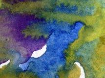 Blått för havet för världen för abstrakt begrepp för vattenfärgkonstbakgrund slår undervattens- texturerad suddig fantasi för våt Royaltyfria Bilder