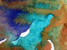 Blått för havet för världen för abstrakt begrepp för vattenfärgkonstbakgrund slår undervattens- texturerad suddig fantasi för våt Royaltyfri Foto