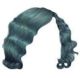 Blått för korta hår för kvinna retro stil realistisk 3d för modeskönhet Royaltyfria Bilder