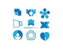 Blått för logobeståndsdeluppsättning Royaltyfri Bild