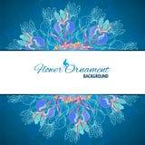 Blått för mandalabakgrund för blom- prydnad kort vektor illustrationer