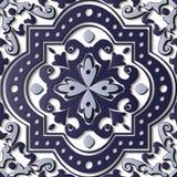 Blått för modell för sömlös lättnadsskulpturgarnering röra sig i spiral retro c royaltyfri illustrationer