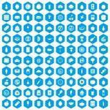 100 blått för näringsymbolsuppsättning Arkivfoton