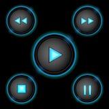 Blått för neonkontrollknappar Arkivfoton