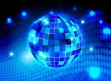 Blått för partiet för diskobollnatten tänder bakgrund royaltyfri illustrationer