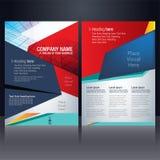 Blått för reklambladdesignmall och rött royaltyfri illustrationer