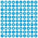 100 blått för servicesymbolsuppsättning stock illustrationer